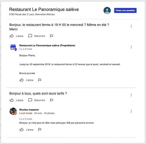 questions reponses sur google my business